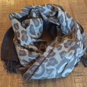 COACH ombré ocelot fringe scarf